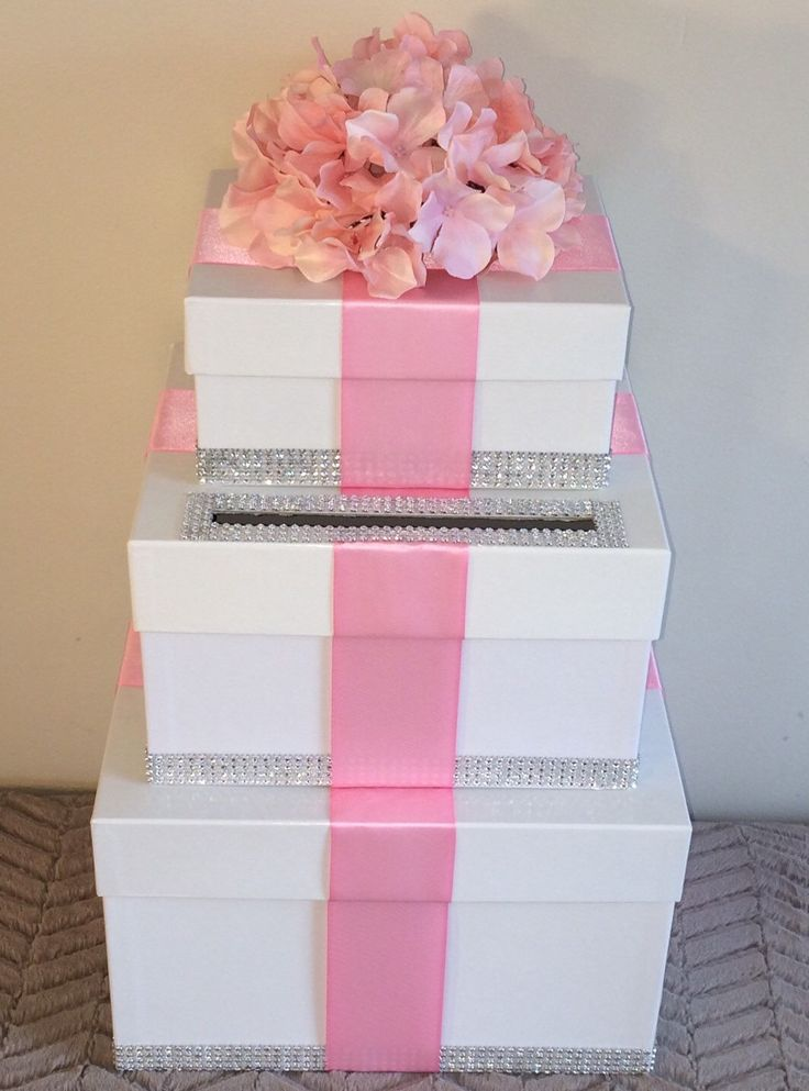 Wedding Card Box, Pink Wedding Envelope Box, Pink Wedding Card Holder ...