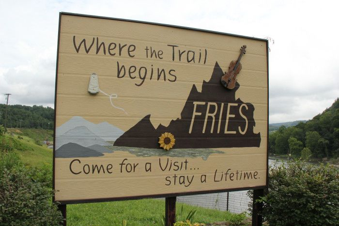 "Fries, Va - It's actually pronounced ""Freeze"", but I can't help getting a little hungry every time I see this town's name. Located on the New River in Grayson County, Fries hosts annual bluegrass and fiddlers' events as part of the Virginia Heritage Music Trail."