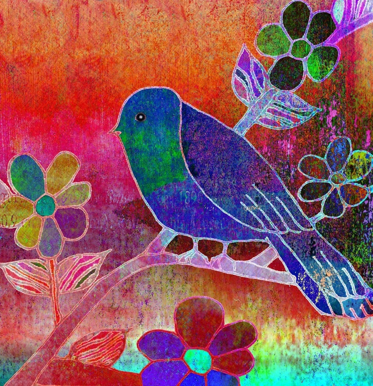 digital and mixed media line drawing...with layers and layers of color and textures..Media Design, Birds Prints, Artsy Birds, Robin Mead Artists, Flower Art, Art Journals, Art Prints, Mixed Media, Collage