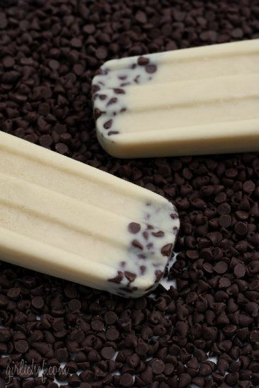 Cookie dough popsicles.. made with almond milk, these are low fat and low cal!