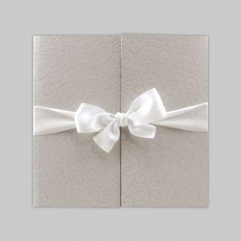 Faire part mariage « Fenêtre sur cœurs noeud blanc » J3097
