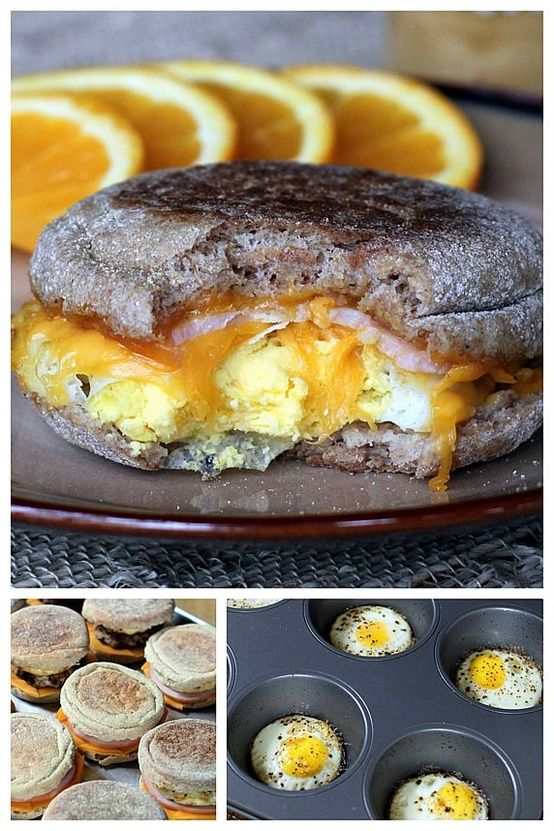 Healthy Egg McMuffin    Ingredients  12 large eggs (may substitute Egg Beaters or use all egg whites, if desired)  12 100% whole grain English muffins  12 slices Canadian bacon or cooked turkey sausage patties  12 slices low calorie cheese (ultra-thin regular cheese or low-fat cheese; look for 45 calories or less per slice)  black pepper, freshly g