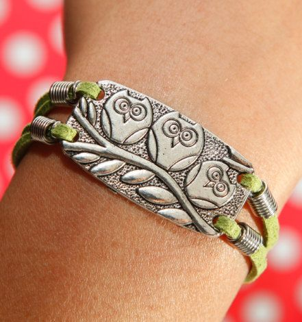Three Owls Bracelet, Branches Bracelet, Tender green Flcoking Leather Bracelet on Etsy, $3.16