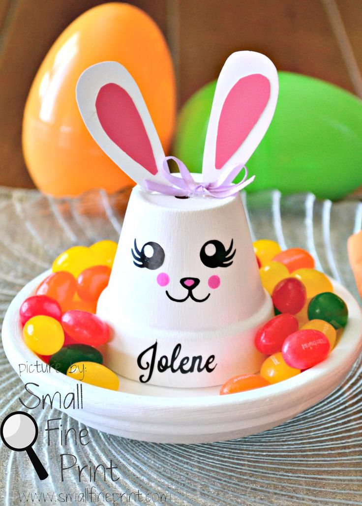 Easter Place Setting - could use styrofoam cup instead of clay pot
