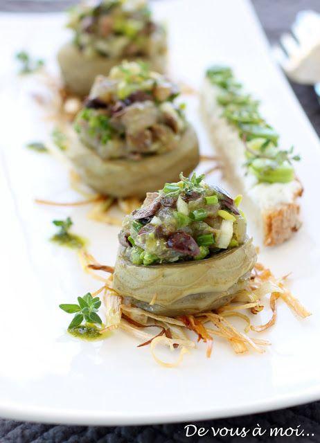 De vous à moi...: Tartare de Sardines et Févettes sur Nids d'Artichauts
