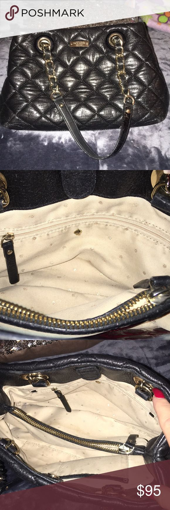 "Black quilted Kate Spade handbag Cute Kate Spade purse, used lovingly.  13"" across and 8"" length. Darling bag needs a new home who will enjoy her as much as I have. kate spade Bags Shoulder Bags"