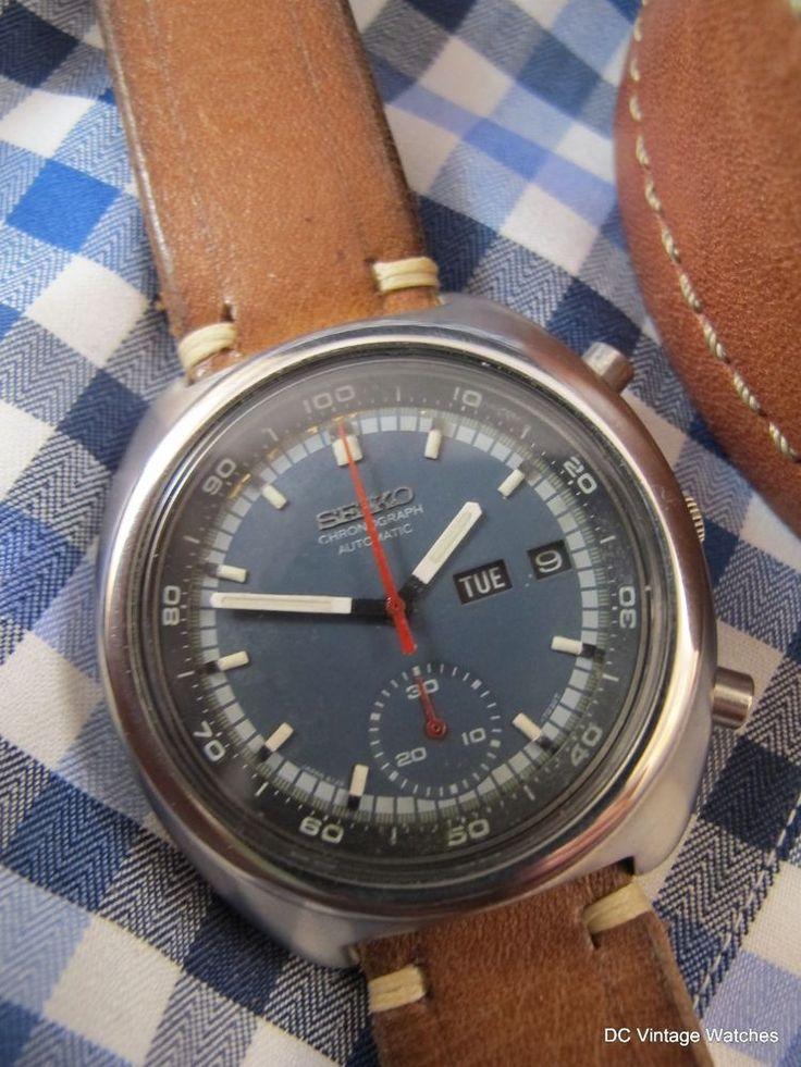 Vintage 1976 Seiko 6139-7002 Automatic Chronograph, w/Handmade Leather Strap #Seiko