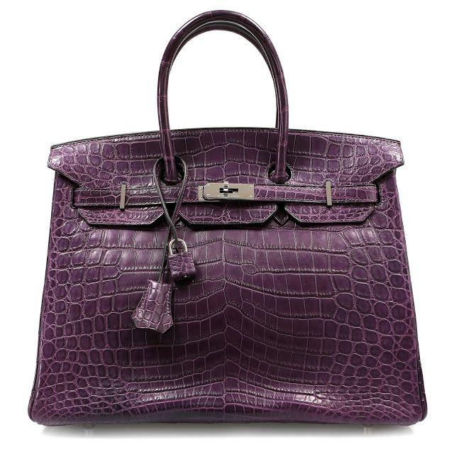 Authentic Hermès Amethyst Purple Matte Crocodile 35cm Birkin Bag