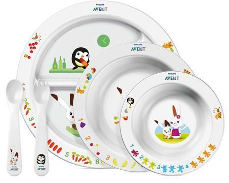 Набор посуды Philips AVENT тарелки 3 шт. + вилка + ложка с 6 мес.  — 1489р.  Набор посуды для малыша Philips AVENT станет незаменимым при обучении Вашего малыша кушать самостоятельно! В наборе есть все необходимое для перехода с одного этапа кормления на другой: маленькая глубокая тарелочка, большая глубокая тарелка, тарелочка с разделителями и набор столовых приборов (вилка и ложка). Яркое развивающее оформление сделает процесс кормления увлекательнее и веселее!  Особенности:  Удобные…