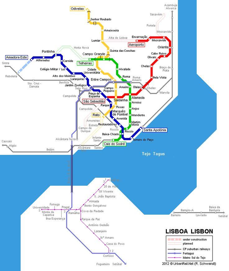 Lisbon metro map 2007 © UrbanRail.Net
