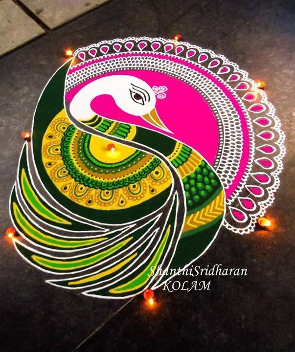 Attractive Peacock Rangoli Art Shanthi Sridharan