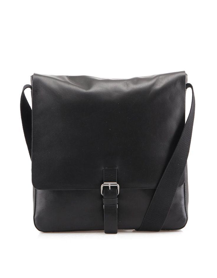 Strellson - Černá kožená pánská taška messenger  Scott MV - 1