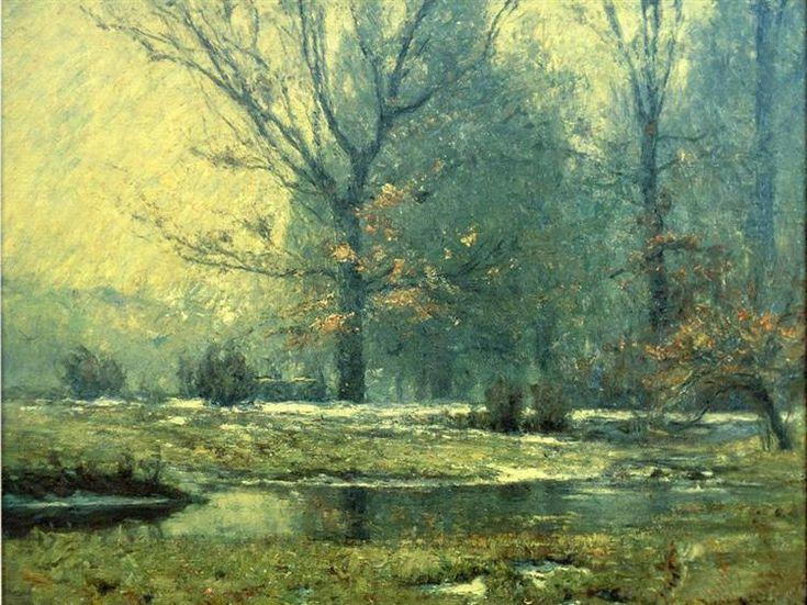 Creek in Winter, 1899 by T. C. Steele. Impressionism. landscape