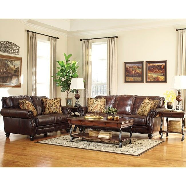 Living Room Furniture Sales: Graydon Park Dark Saddle Living Room Set In 2019