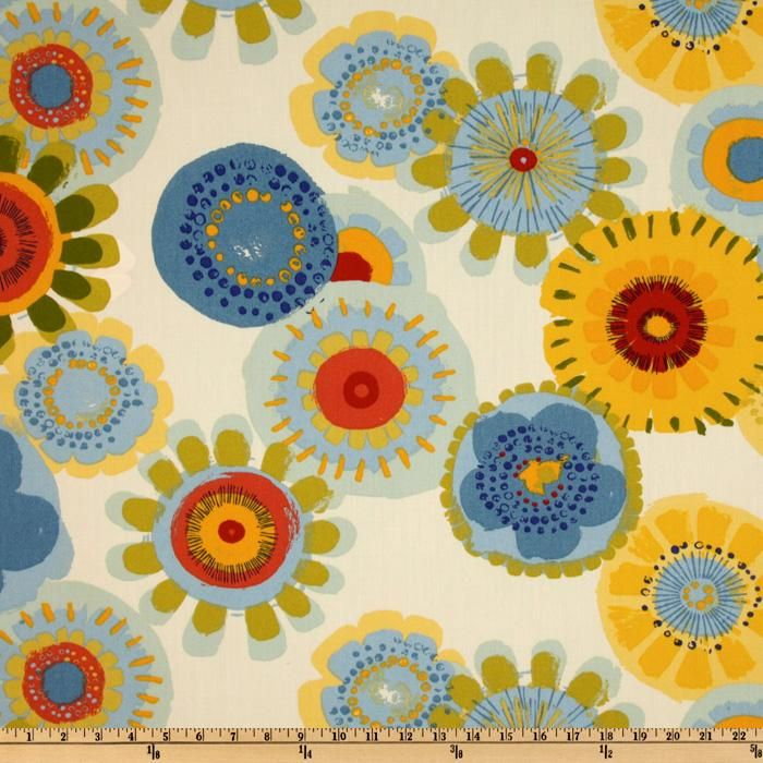 This indoor/outdoor fabric is stain and water resistant, very family friendly and perfect for outdoor settings and indoors in sunny rooms. It is fade resistant up to 500 hours of direct sun exposure. Create decorative toss pillows, cushions, chair pads, placemats, tote bags, slipcovers and upholstery. Colors include olive, yellow, red, orange, kiwi, aqua, coral, red and shades of blue on an ivory background.