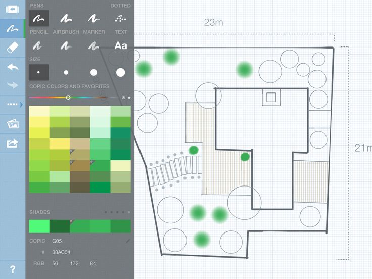 Landscape design in Concepts 2.0 Smarter Sketching (iPad