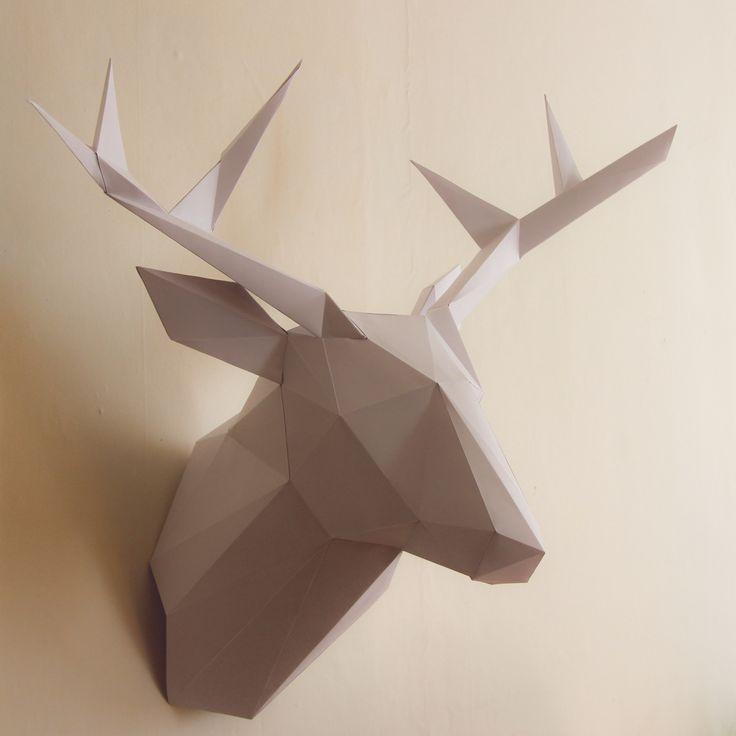 Trophée de chasse Cerf en papier - 44 cm - BLANC : Décorations murales par les-trophees-en-papier