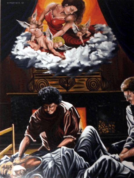 L'origine de l'imposture | Atelier Le Chartier  Pour donner naissance à la semence de l'homme, la femme devait enfanter dans la souffrance pour absoudre ses péchés de jouissance...FOUTAISE! REF:#20 (www.atelierlechartier.com))