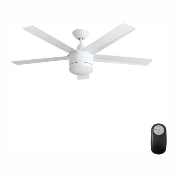 Home Decorators Collection Merwry 52 In Integrated Led Indoor White Ceiling Fan With Light Kit And Remote Control Sw1422wh The Home Depot Ceiling Fan With Light Fan Light White Ceiling Fan
