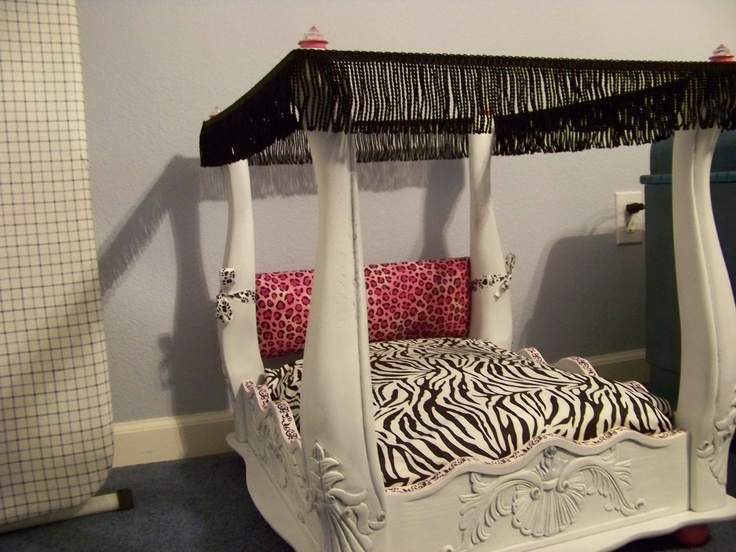 American Girl Doll Bed - looks like an end table turned upside down and  added fabric, mattress, and 4 decorate floor post/caps. (Somebody find me a  cheap ...