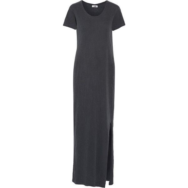 LNA T-shirt cotton maxi dress ($63) ❤ liked on Polyvore featuring dresses, grey, shirt-dress, gray maxi dress, long shirt dress, grey shirt dress and maxi dress