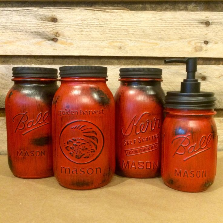 Red Mason Jar Canisters, Rustic Red Canister Set With Soap Dispenser,  Distressed Red Mason Jars, Red Kitchen Storage, Red Kitchen Canisters
