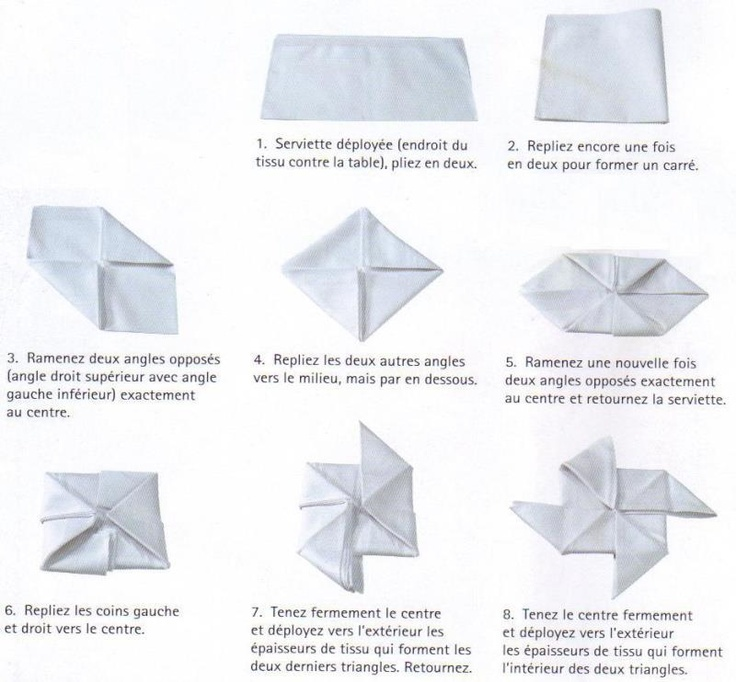 Pliage serviette origami pinterest - Origami serviette de table ...