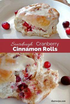 Sourdough Cranberry Cinnamon Rolls - sourdough cinnamon rolls studded with fresh or frozen cranberries.