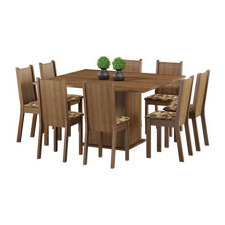 Conjunto de Mesa Clarice com 8 Cadeiras Rustic Com Assento Bege Marrom