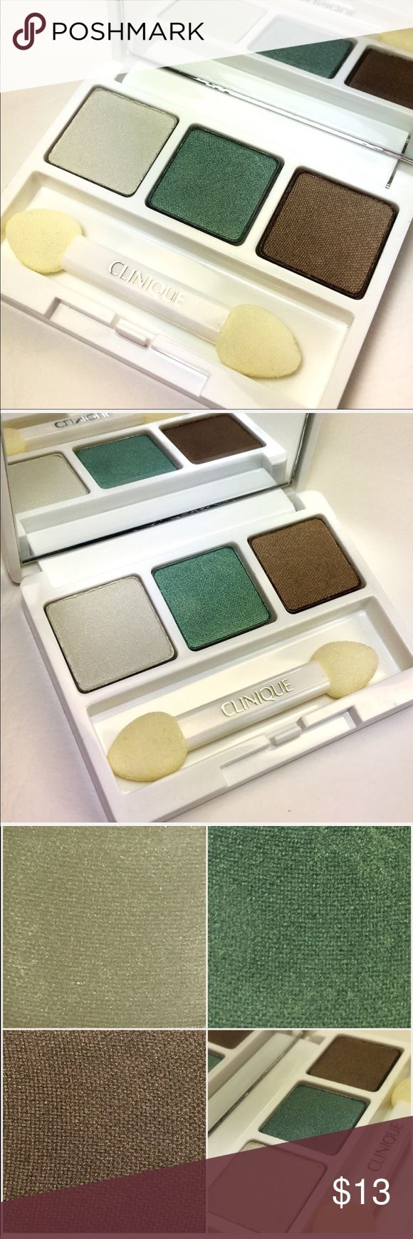 Clinique All About Shadow Trio Set Clinique All About Shadow Trio Set  Brand New Without Tags! Great Stocking Stuffer for the Holidays.   I tried to take as many photos of the pallet to show the color best. The eyeshadow seems to have a very light shimmer to them, very pretty earth tones.   Pallet Colors:  - 08 Olive In MY Martin  - 1X Pacific Coast - 08 Wave After Wave   .07 oz. / 1.9g  Tags: Makeup, Cosmetic, Eye Makeup, Eyeshadows, Eyeshadow, Glitter, Glam, Pallet Clinique Makeup