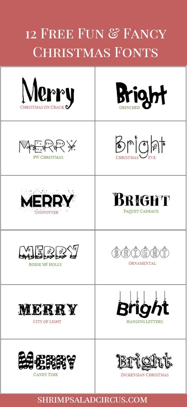 12 Free Christmas Fonts - Download these front freebies as a great starting idea for holiday gifts, printables, and to design cards!