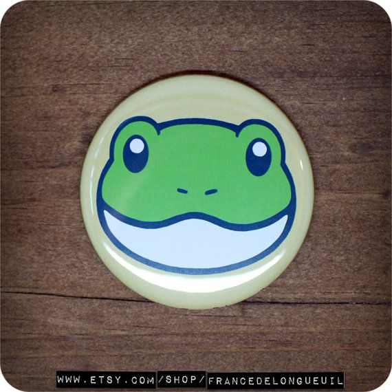 2.25 inches Cute frog  Button  Magnet  Pocket by FranceDeLongueuil