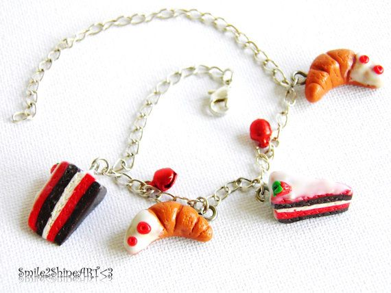 Polymer clay cake charm bracelet Stawberry cake by Smile2ShineArt