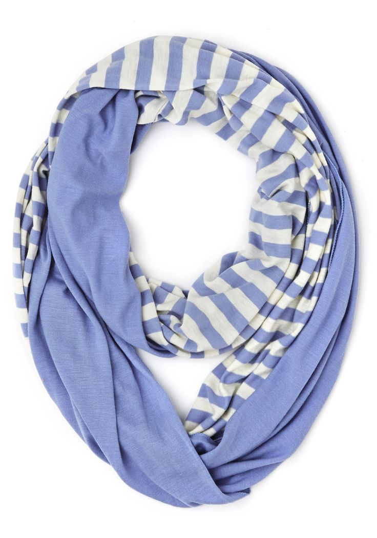 Swathed in Spring Circle Scarf in Rain. Wrap yourself in hues that will refresh you like a spring shower with the pretty periwinkle and cool white of this infinity scarf! #blue #modcloth