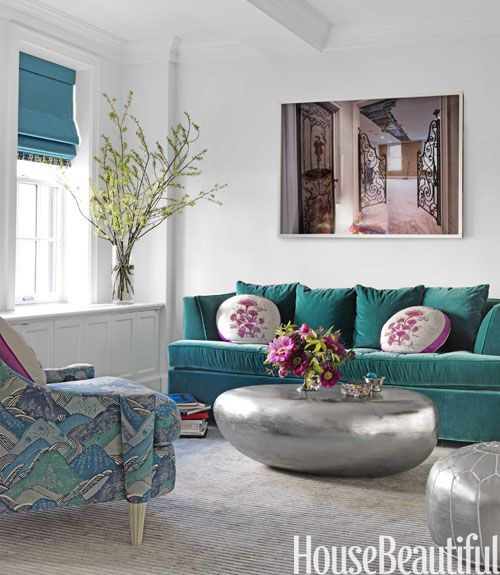 Love the tableDecor, Coffe Tables, Coffee Tables, House Beautiful, Colors, Livingroom, Silver, Living Room, Design