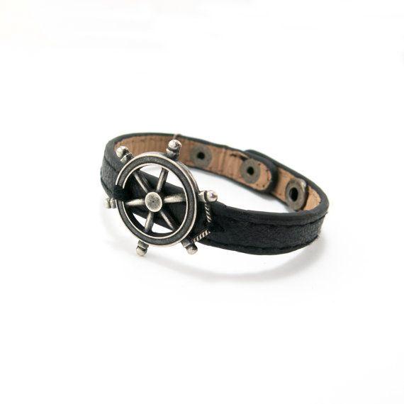 Men's Nautical Bracelet men's Leather Bracelet by Magoojewelry