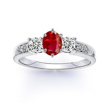 Angara Three Stone Diamond Ring with Ruby Stide Stone in Platinum
