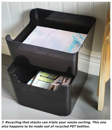PLUGGIS waste bins.  If you recycle, this is a great way to easily stack and sort the recycling using very small space.
