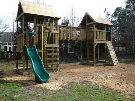 Playset fort plans home walkway bridge swing set for Diy play structures backyard