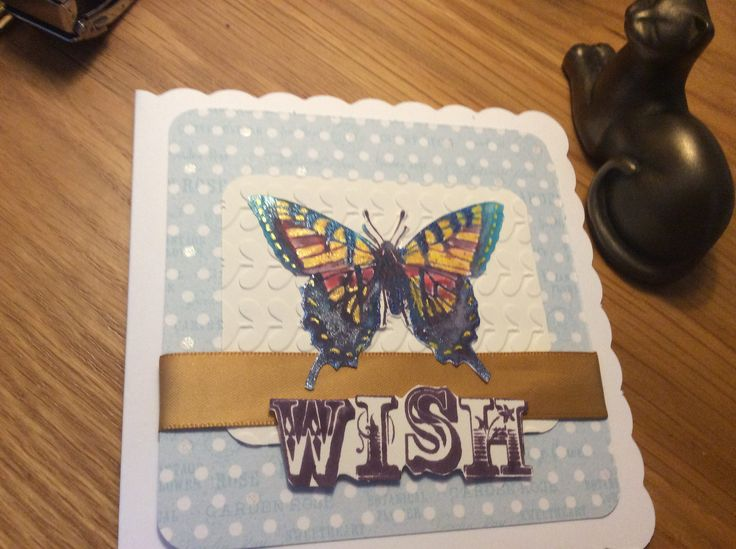 https://flic.kr/p/UjdP2d | Butterfly card | Iridescent butterfly on an embossed Vanilla backing card. Blue spotty background, stamped sentiment. Same card, taken at an angle to show the iridescence.