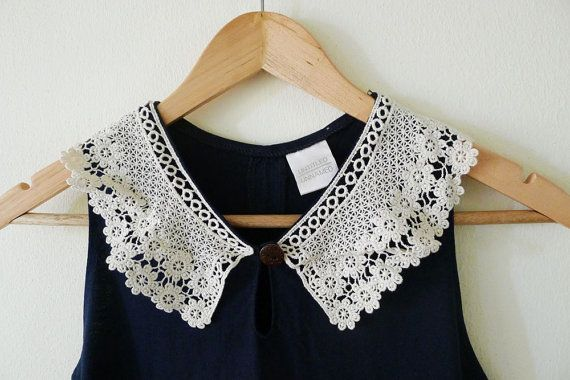 100 % thick cotton in navy sleeveless mini dress, jersey, decorate with ivory applique lace as a collar, braided trim, vintage style - adore