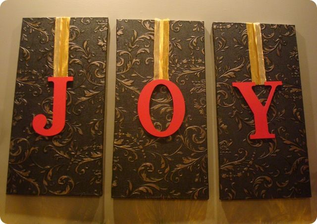 so cute and easy :)Wall Art, Painting Letters, Christmas Crafts, Center Christmas, Christmas Decorations, Canvas, Painted Letters, Christmas Ideas, Christmas Joy