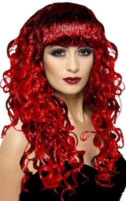 Black and red curly wig with fringe - Glamorous!
