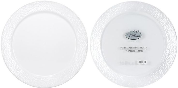 "Textured Rim Pebble Round Tray - 13.5"" Pearl Plastic Tray - 2-Pack - 24 Units"