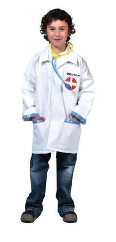 Dokter jas met stethoscoop voor kinderen. Witte doktersjas voor kinderen met rood kruis op de borst, inclusief stethoscoop. Dit kostuum is een one size en valt ongeveer als een 128 - 140. Carnavalskleding 2015 #carnaval