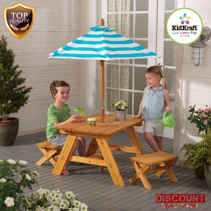 Patio Set Bench Kids Table Umbrella Seat Outdoor Furniture Picnic Camping  Garden