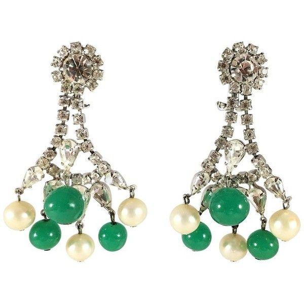 Preowned Hattie Carnegie 60s Chandelier Earrings With Rhinestones,... (£185) ❤ liked on Polyvore featuring jewelry, earrings, chandelier earrings, multiple, emerald chandelier earrings, pearl chandelier earrings, clear earrings, long chandelier earrings and emerald dangle earrings