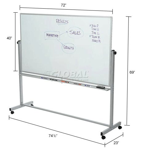 Whiteboards & Bulletin Boards | Mobile Whiteboards | Rolling Magnetic Dry Erase Whiteboard - Double Sided Reversible - 72 x 40 | B444999 - GlobalIndustrial.com