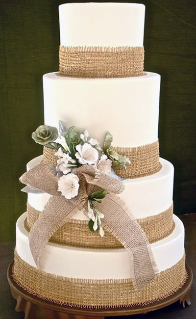 simple cake with burlap and bow... beautiful!