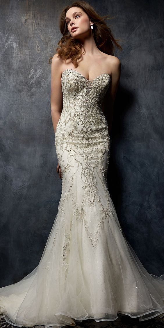 0ac2229e8ce3 Kenneth Winston Style 1750 | trumpet style embroidered lace wedding dress  with strapless sweetheart neckline | luxurious bridal gown | mermaid  #bridalgown # ...